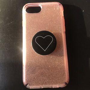 iPhone 6 pink glitter case w/ pop socket